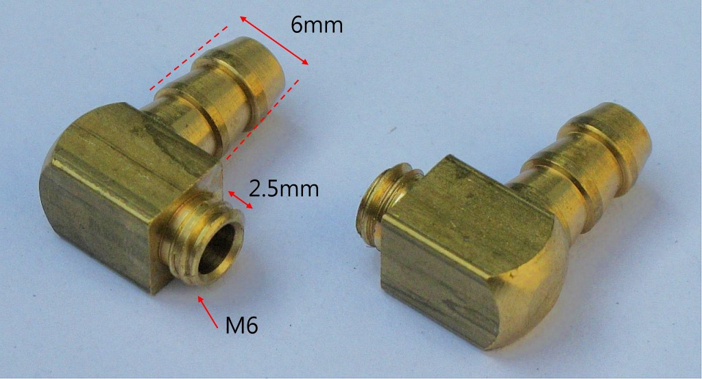 M6 Threaded 90 Degree Brass Water Fittings x 2 units