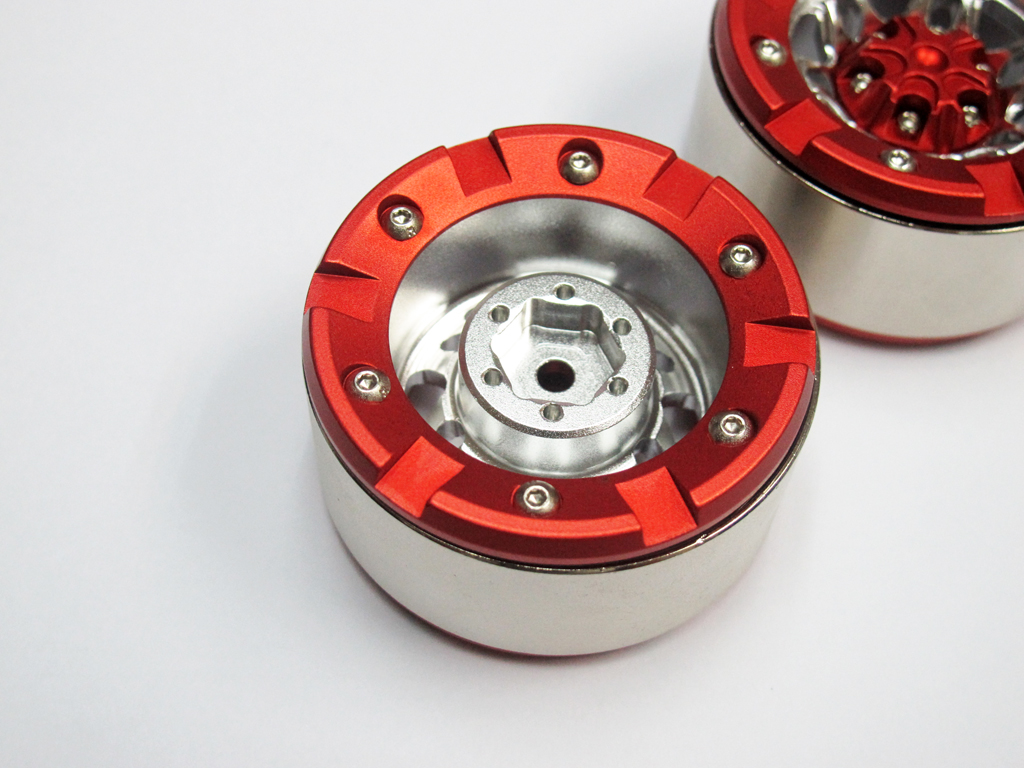 Alloy Beadlock 1.9 Wheel Rim Red Silver 1:10 RC Crawlers x 2